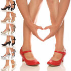 WOMENS LADIES LOW MID HEEL MARY JANE STRAP WORK HEART COURT SHOES SIZE