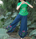 Summer Womens Loose Wide Leg Pants Casual Trousers Cotton Linen Palazzo Fashion