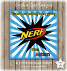 NERF BIRTHDAY PARTY PERSONALISED SQUARE GLOSS PARTY STICKERS X 12
