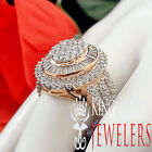 14K Rose Gold On Real Silver Lab Diamond Ladies Womens Bridal Engagement Ring