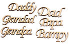 Script Names Words - 'Father's Day,Dad,Daddy,Grandad,Grandpa,Papa' Mdf -5 Pack