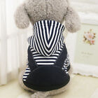 Stripe Warm Hoodies For Small & Larger Dog Cat Jumpsuit Hoody Pet Clothes Winter