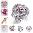 Women Large Jewelry 925 Sterling Silver Pink Sapphire Wedding Anniversary Ring