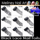 Black Lace Nail Art Transfer Foils Transparent Flowers sticker Foil