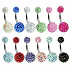 Multi Crystal Ferido Shamballa Navel Belly Bar 10mm 8mm Double Gem