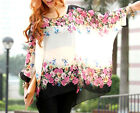 New White Black multi color Floral tunic top shirt blouse cover up one size