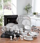 100 PIECE pc SCRIPT ROUND RED / BLACK & WHITE DINNER SERVICE SET MODERN DESIGN