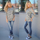 Womens Summer 3/4 Sleeve Camouflage Camo Print T shirt Loose Tops Casual Blouse