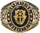Gold Plated Deluxe 18k US Military Special Forces Engraved Ring w/ Crystal Stone