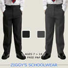 Boys School Trousers Stocky Generous Fit Sturdy Chunky Elasticated Black Grey