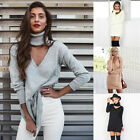 Women Fashion V-Neck  Long Section of the OLStyle Sweater Dress