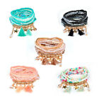 9Pcs/Sets Women Crystal Wristband Boho Cuff Wrap Beaded Stretch Bangle Bracelet