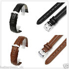 12,18,20,22mm Scrub Genuine Leather Watch Strap Band Stainless Steel Buckle Belt