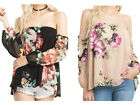 Mittoshop Womens Black Beige off the Shoulder floral Long Sleeve Shirt Top
