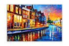 AT54378D Sunday Night in Amsterdam By Leonid Afremov Poster Print Wall Pictures