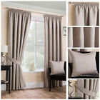Ready Made Natural Satin Textured Soft Curtain Tape Top Pencil Pleat Living Size