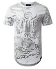 Men Hipster Hip Hop Gold Foil Print Chain Graphic Longline T-Shirts