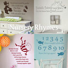 Nursery Rhyme Quote Wall Sticker! Home Transfer Kids Decal Decor Stencils Art UK