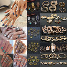1set Women Alloy Knuckle Finger Rings Adjustable Statement Rings Jewelry Set