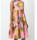 17 Runway Occident hot sale pineapple printing sequined makings knee dress SMLXL