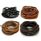 6mm Black / Brown / White / Coffee Braided Bolo Real Leather Cord Jewelry String