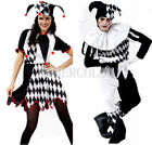 New Harlequin Jester Clown Circus Costume & Hat Halloween Adult Funny Dress Suit