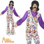 Mens 60's Groovy Hippie Costume 70s Psychedelic Hippy Disco Fancy Dress Outfit
