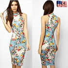 US Women Boho Vintage Floral Printed Sleeveless Evening Party Pencil Short Dress