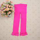 Kids Girls Lace Velvet Skinny Stretchy Leggings Pants Trousers Candy Color 5-9Y