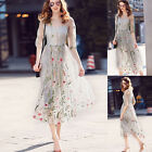 New Womens Elegant Embroidered Floral Long Sheer Tunic Embroidery Mesh Dress*