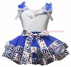 Plain 4th July White Top Blue USA Flag Satin Trim Skirt Girls Outfit Set NB-8Y
