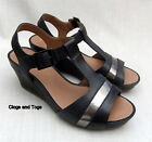 NEW CLARKS RUSTY REBEL WOMENS BLACK LEATHER WEDGE SANDALS SIZE 4.5 / 37.5