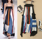 17 Occident new fashion shoulder-straps silk Color matching lady A holiday dress