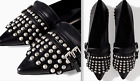 Zara Beautiful Black Real Leather Pointed Shoes With Studs And Tassel New