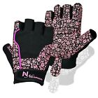Ladies Gel Gloves Fitness Gym Wear Weight Lifting Training Cycling Pink Black