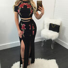 Women Embroidered Short Sleeve Cold Shoulder Crop Top Long Slit Skirt Outfits