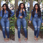 Womens 2Pcs Top Bodycon Denim Jumpsuit Jeans Casual Overalls Long Outfit Rompers