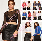 WOMENS LADIES CASUAL / PARTY SHEER MESH LONG SLEEVE CROP TOP CROP TOPS T SHIRT