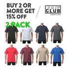 2 PACK PROCLUB PRO CLUB MENS CASUAL T SHIRT PLAIN SHORT SLEEVE SHIRTS HEAVY-DUTY image