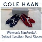 New COLE HAAN Women's Nantucket Patent Leather Boat Shoes, Red or Navy VARIETY
