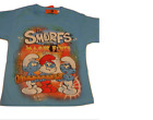 BOYS BLUE COTTON T SHIRT FEATURING THE SMURFS NEW