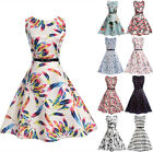 UK Vintage Parent-Child Mother Daughter Womens Girls Print Casual Party Dress
