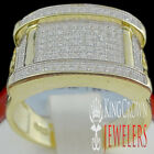 Men's Two Tone Real Sterling Silver Yellow Gold Finish Pinky Ring Band Size 9/10