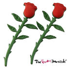 TFB - SINGLE STEM RED ROSE STUD EARRINGS Quirky Flower Love Gift Valentine Retro