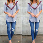 Women Ladies Casual Short Sleeve Lace Shirts Loose Blouses T Shirt Top Size M-XL