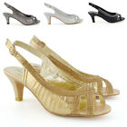 Womens Wedding Slingback Shoes Ladies Diamante Kitten Heel Peeptoe Party Sandals