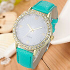 Fashion Women's Diamond Leather Stainless Steel Quartz Wrist Watch For Girl Gift