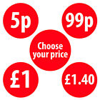 30mm Shop Price Labels Stickers Red Various Quantities Available £1.40-£2.70
