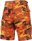 Mens Bright Orange Camouflage Military BDU Cargo Shorts Hunter Shorts