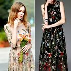 """1 Yard Flower Floral Embroidery Black Mesh Wedding Dress Lace Fabric 51"""" Width"""